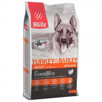 Blitz / Блитц сухой корм для собак Индейка и Ячмень, 15 кг