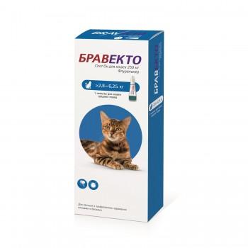 Бравекто Спот Он 250мг Капли д/кошек массой 2,8-6,25кг от клещей и блох 1пипетка*0,89мл