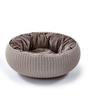 """Curver PetLife / Курвер ПетЛайф Лежак для животных """"Вязанный комфорт"""" с подушкой, D54*20.2 см дымчато-бежевый"""