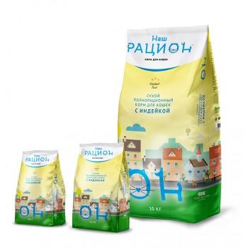 Наш Рацион С индейкой сухой корм для кошек 10 кг