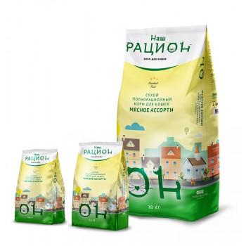 Наш Рацион Мясное ассорти сухой корм для кошек 10 кг