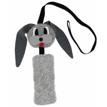 GoSi / ГоСи ЗАЯЦ Шуршик с натуральным хвостом Пушнина этикетка Еврослот мягкая игрушка для собак  серый