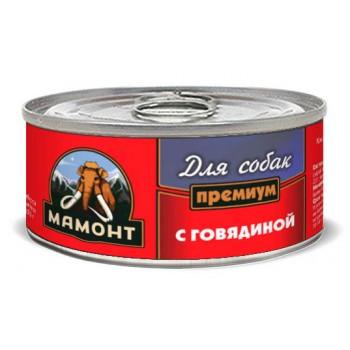 Мамонт Премиум Говядина фарш влажный корм для собак жестяная банка 0,1 кг