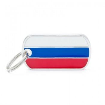 My Family / Май Фемили Flags Милитари Российский флаг адресник хромированный большой