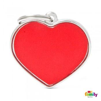 My Family / Май Фемили Reflective Сердце адресник красный большой