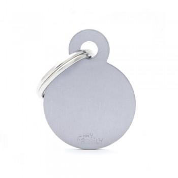 My Family / Май Фемили Basic Aluminum Круглый маленький адресник серый