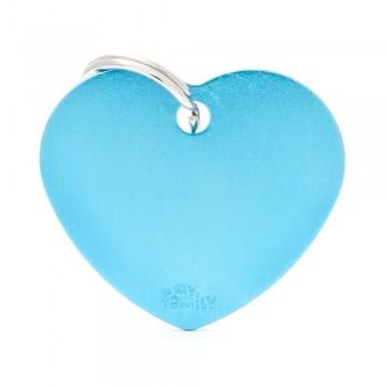 My Family / Май Фемили Basic Aluminum Сердце большой адресник голубой