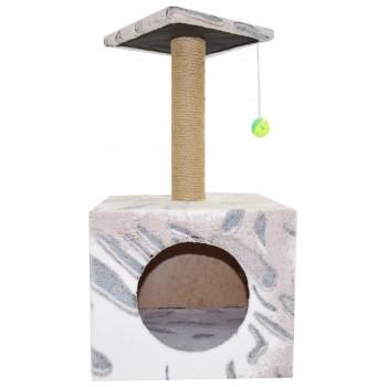 Glory Life / Глори Лайф Столбик куб с площадкой. Джут с игрушкой. когтеточка 35x30x85 см