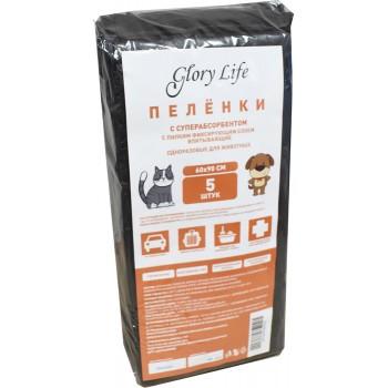 Glory Life / Глори Лайф c суперабсорбентом и липким фиксирующим слоем одноразовые для животных чёрные 5 шт пеленка 60x90 см