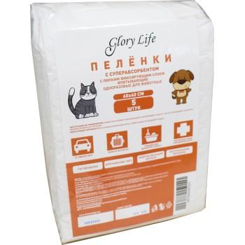 Glory Life / Глори Лайф c суперабсорбентом и липким фиксирующим слоем одноразовые для животных белые 5 шт пеленка 60x40 см