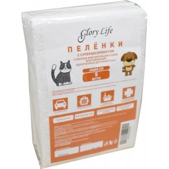 Glory Life / Глори Лайф c суперабсорбентом и липким фиксирующим слоем одноразовые для животных белые 5 шт пеленка 60x60 см