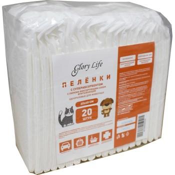 Glory Life / Глори Лайф c суперабсорбентом и липким фиксирующим слоем одноразовые для животных белые 20 шт пеленка 60x40 см