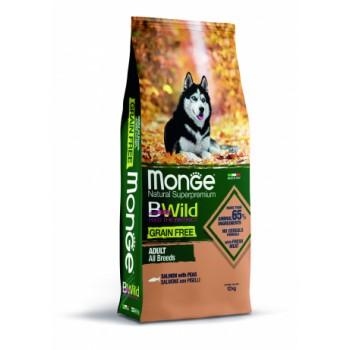 Monge / Монж Dog BWild GRAIN FREE беззерновой корм из лосося и гороха для взрослых собак всех пород 12 кг