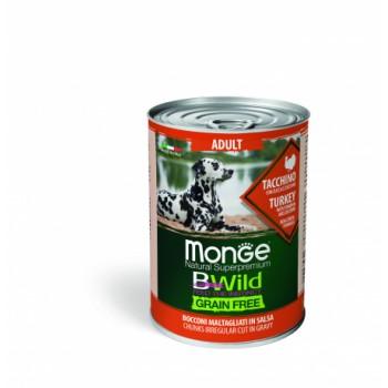 Monge / Монж Dog BWild Grainfree ADULT консервы из индейки с тыквой и кабачками для собак всех пород 400г