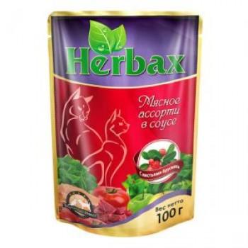 Herbax / Хербакс ПАУЧ д/кошек мясное ассорти в соусе с листьями брусники 100 гр
