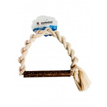 ZooBaloo Игрушка для собак плетеное кольцо из каната с апортом из орешника, х/б 25 см