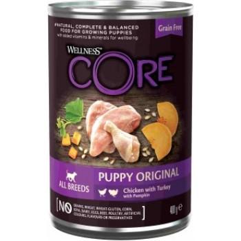 Wellness Core / Вилнес Кор 95 консервы из курицы с индейкой и тыквой для щенков 400 гр