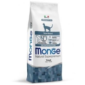 Monge / Монж Cat Monoprotein Sterilised корм для стерилизованных кошек с форелью 10 кг