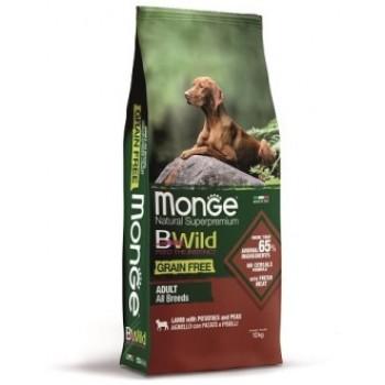 Monge / Монж Dog BWild GRAIN FREE беззерновой корм из мяса ягненка с картофелем и горохом для взрослых собак всех пород 12 кг