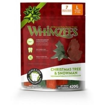 Whimzees / Вимзис дентальное лакомство Новогодний Микс (елочки/ снеговики) для собак L 7 шт в пакете