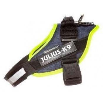 Julius-K9 / Юлиус-К9 шлейка для собак IDC®-Powerharness 2 (71-96см/ 28-40кг), джинса-зеленый неон