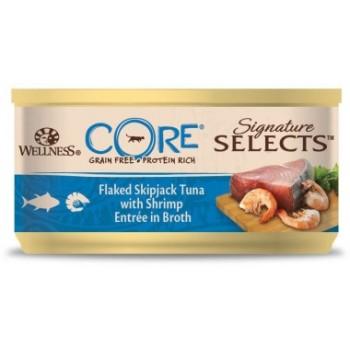 Wellness Core / Вилнес Кор Signature Selects консервы из тунца с креветками в виде кусочков в бульоне для кошек 79 гр