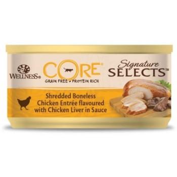 Wellness Core / Вилнес Кор Signature Selects консервы из курицы с куриной печенью в виде фарша в соусе для кошек 79 гр
