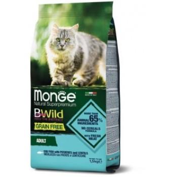 Monge / Монж Cat BWild GRAIN FREE беззерновой корм из трески, картофеля и чечевицы для взрослых кошек 1,5 кг