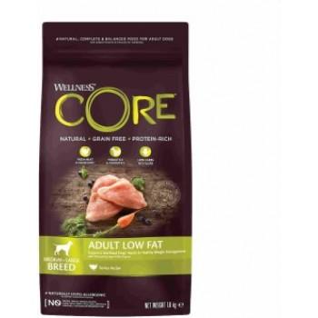 Wellness Core / Вилнес Кор корм со сниженным содержанием жира из индейки с курицей для взрослых собак средних и крупных пород 1,8 кг