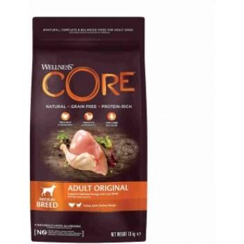 Wellness Core / Вилнес Кор корм из индейки с курицей для взрослых собак средних пород 1,8 кг