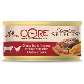 Wellness Core / Вилнес Кор Signature Selects консервы из говядины с курицей в виде кусочков в соусе для кошек 79 гр