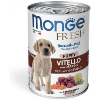 Monge / Монж Dog Fresh Chunks in Loaf консервы для щенков мясной рулет телятина с овощами 400г