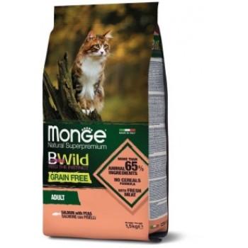 Monge / Монж Cat BWild GRAIN FREE беззерновой корм из лосося и гороха для взрослых кошек 1,5 кг