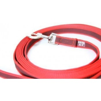 Julius-K9 / Юлиус-К9 поводок для собак Color & Gray Super-grip 2/500см, с ручкой, до 50 кг, красно-серый