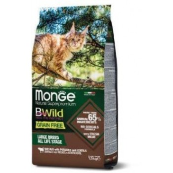 Monge / Монж Cat BWild GRAIN FREE беззерновой корм из мяса буйвола для крупных кошек всех возрастов 1,5 кг