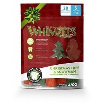 Whimzees / Вимзис дентальное лакомство Новогодний Микс (елочки/ снеговики) для собак S 28 шт в пакете