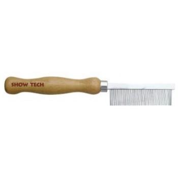 Show Tech Wooden Comb расческа для мягкой шерсти 18 см с зубчиками 1,7 см, частота 1 мм