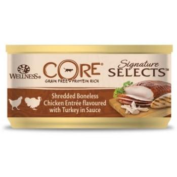 Wellness Core / Вилнес Кор Signature Selects консервы из курицы с индейкой в виде кусочков в соусе для кошек 79 гр