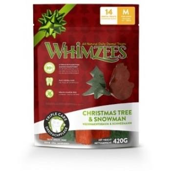 Whimzees / Вимзис дентальное лакомство Новогодний Микс (елочки/ снеговики) для собак М 14 шт в пакете