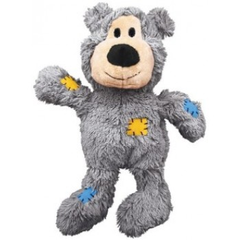 """Kong / Конг игрушка для мелких собак WildKnots """"Мишка"""" плюш с канатом внутри 10 см, в ассортименте"""