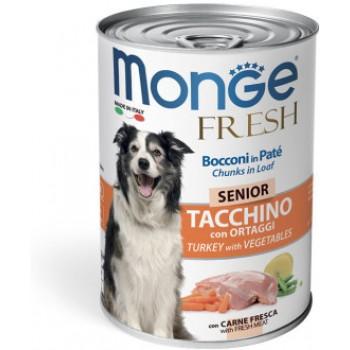 Monge / Монж Dog Fresh Chunks in Loaf консервы для пожилых собак мясной рулет индейка с овощами 400г