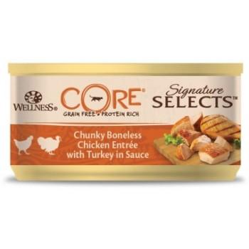 Wellness Core / Вилнес Кор Signature Selects консервы из курицы с индейкой в виде фарша в соусе для кошек 79 гр