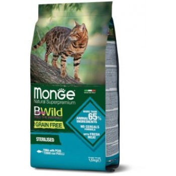 Monge / Монж Cat BWild GRAIN FREE беззерновой корм из тунца и гороха для стерилизованных кошек 1,5 кг