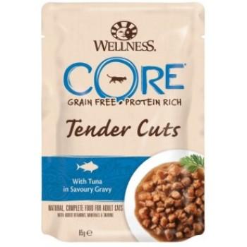 Wellness Core / Вилнес Кор Tender Cuts паучи из тунца в виде нарезки в соусе для кошек 85 гр