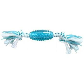 CanineClean / Канин Клин игрушка для собак Регби синтетическая резина с канатом 25 см с ароматом мяты