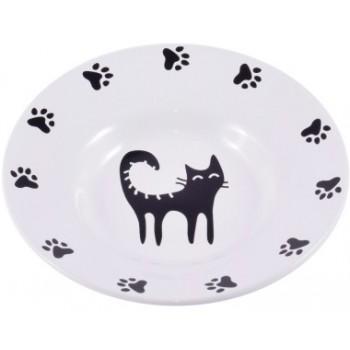 КерамикАрт миска керамическая-блюдце для кошек 140 мл белая