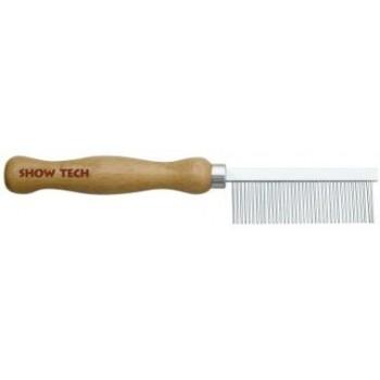 Show Tech Wooden Comb расческа для шерсти средней жесткости 18 см, с зубчиками 2,2 см, частота 1,5 мм