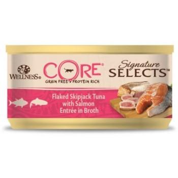Wellness Core / Вилнес Кор Signature Selects консервы из тунца с лососем в виде кусочков в бульоне для кошек 79 гр