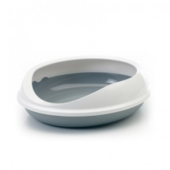 Savic / Савик Туалет д/кошек овальный с бортом FIGARO серый 55*48*15.5 см S0268