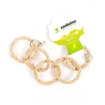 ZooBaloo Игрушка для птиц пять колец сизаль с колоколом L: 35х7 см